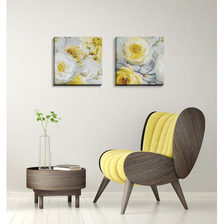 Gango Home Decor Poppy Flower and Bud Floral Wall Art ; Two Yellow 16x16in Hand-Stretched Canvases ()