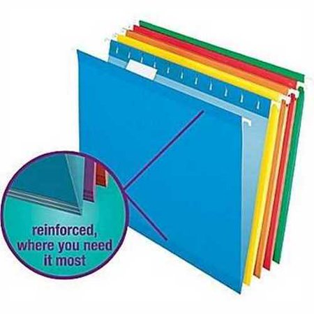Staples Colored Reinforced Hanging File Folders, Letter, 5 Tab, Assorted, 25/Box