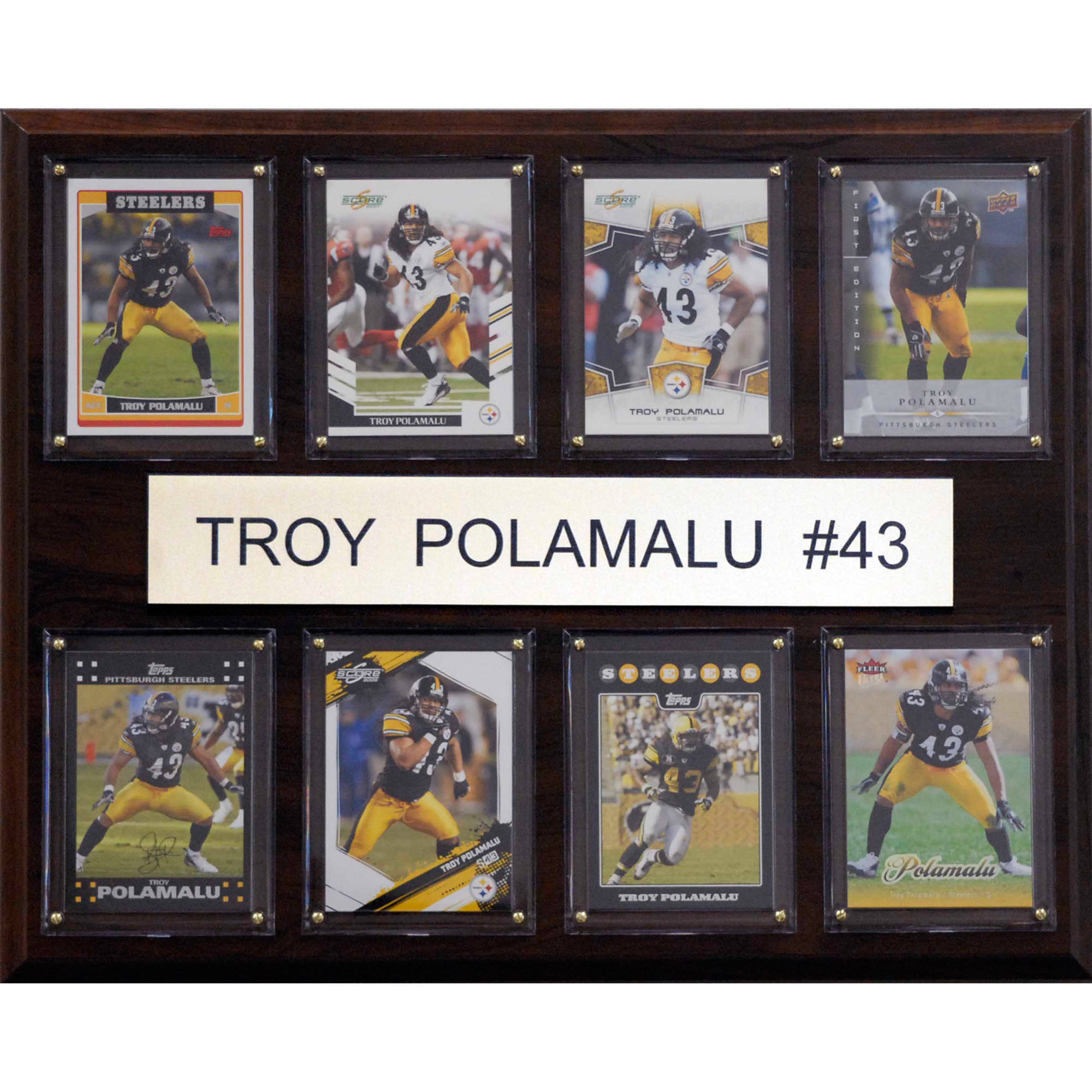 C&I Collectables NFL 12x15 Troy Polamalu Pittsburgh Steelers 8-Card Plaque