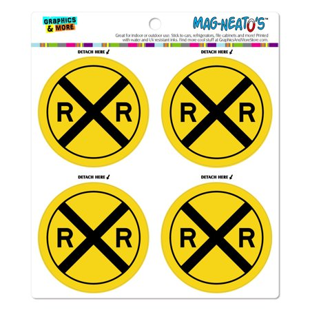 Railroad crossing Traffic Sign Train MAG-NEATO'S(TM) Car/Refrigerator Magnet