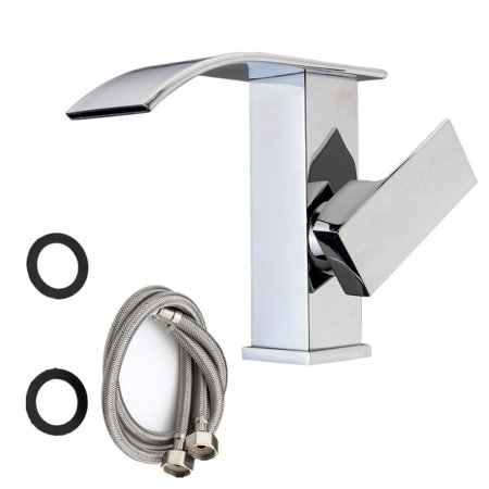 Modern Chrome Basin Waterfall Bathroom Faucet Single Handle Hole Sink Mixer Tap ()