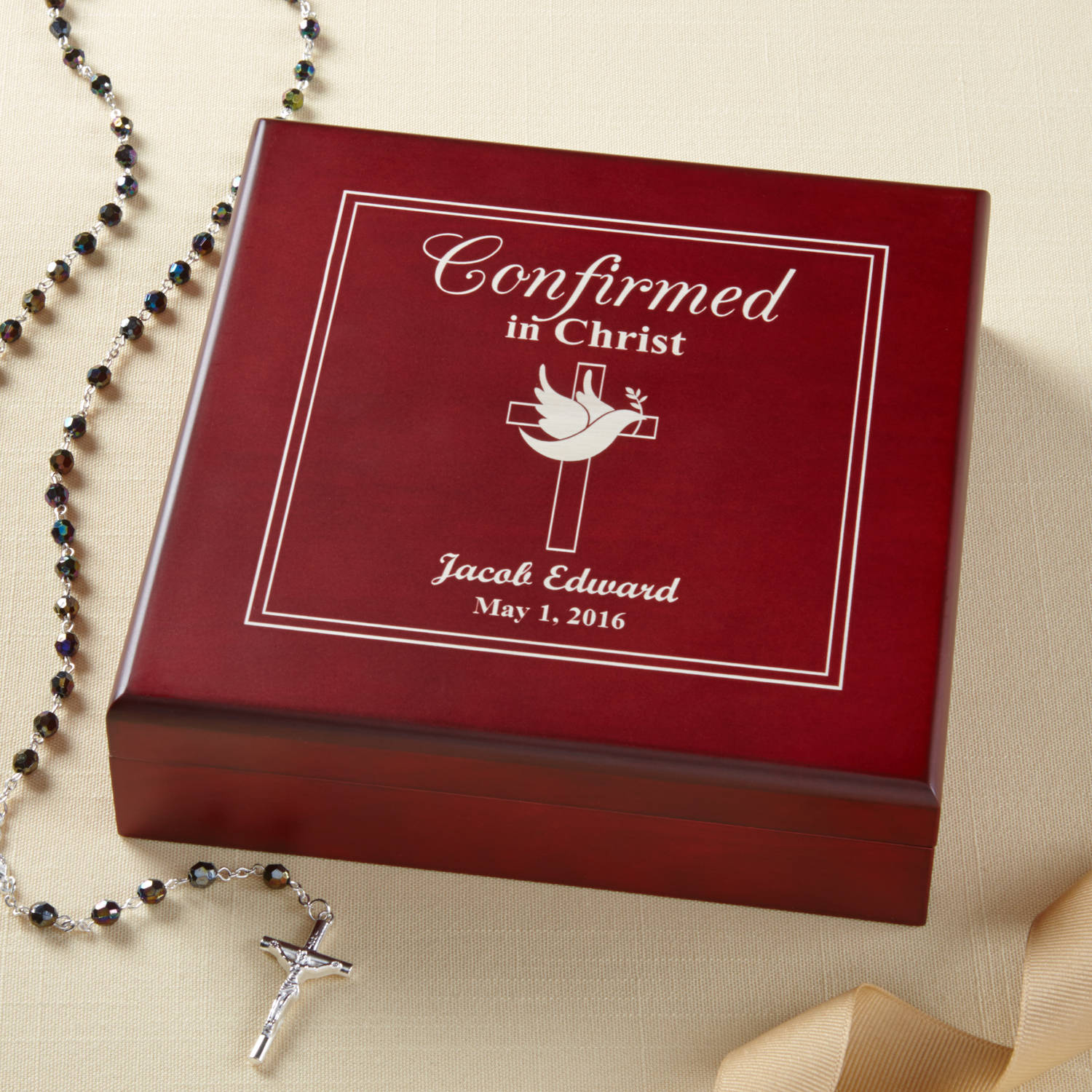 Personalized Confirmed in Christ Wood Keepsake Box