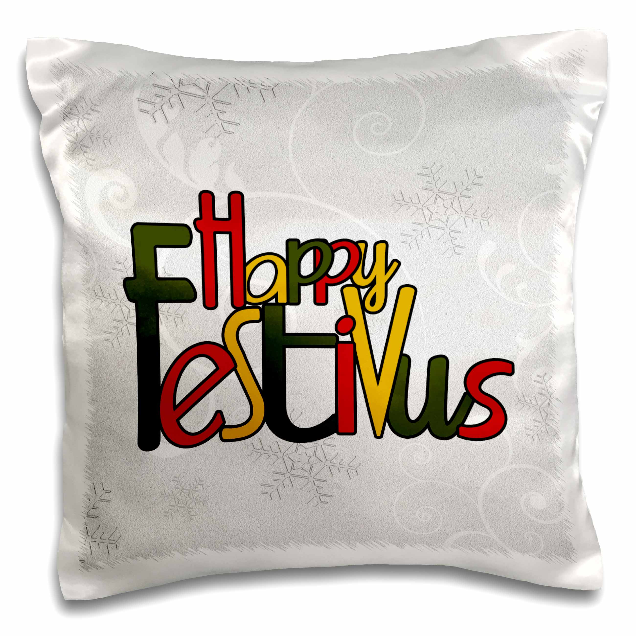 3dRose Happy Festivus in Red, Gold and Green with a Frosty Snowflake Background in Silver and White, Pillow Case, 16 by 16-inch