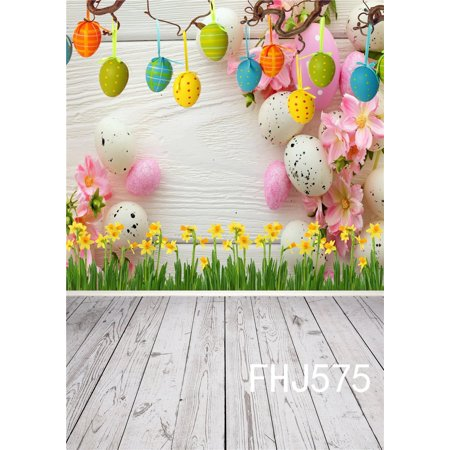 HelloDecor Polyster 5x7ft Easter Photography Backdrop for Children and Kids Yellow Flowers Colorful Eggs Wood Floor Photo Background Studio Props for $<!---->