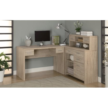 Monarch Specialties 7218 L Shaped Home Office Desk in Natural