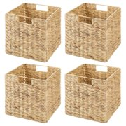mDesign Natural Woven Hyacinth Closet Storage Organizer Basket Bin - Collapsible - for Cube Furniture Shelving in Closet, Bedroom, Bathroom, Entryway, Office - 10.5 Inches High, 4 Pack - Natural/Tan