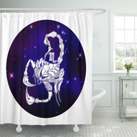 PKNMT Abstract Scorpio Zodiac Sign Horoscope Symbol Animal Astrology Beautiful Shower Curtain 60x72
