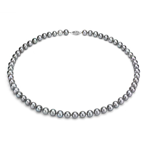 """Ultra-Luster 9-10mm Grey Genuine Cultured Freshwater Pearl 18"""" Necklace and Sterling Silver Filigree Clasp by Jacqueline's Collection"""