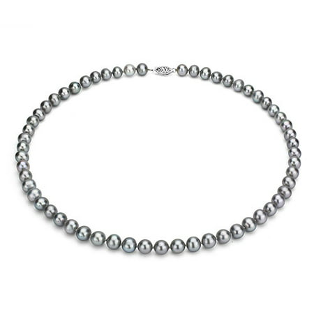"ADDURN Ultra-Luster 9-10mm Grey Genuine Cultured Freshwater Pearl 18"" Necklace and Sterling Silver Filigree Clasp"