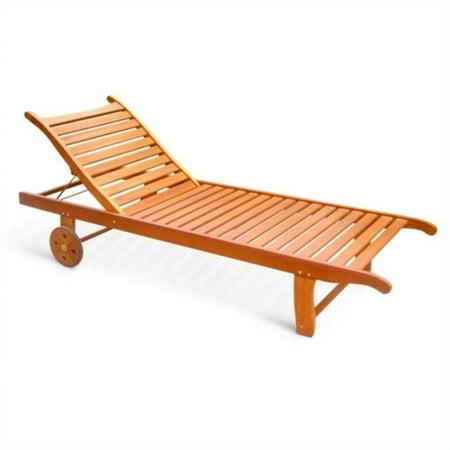 Single Outdoor Wood Chaise Lounge ()