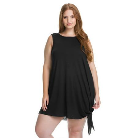 7d3c3daffc Becca ETC Women's Plus Size Breezy Basics Key Hole Back Dress Swim Cover Up  - Walmart.com