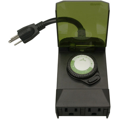 Woods 50011 Outdoor 24-Hour Plug-in Mechanical Timer, 2 Grounded Outlets, Black