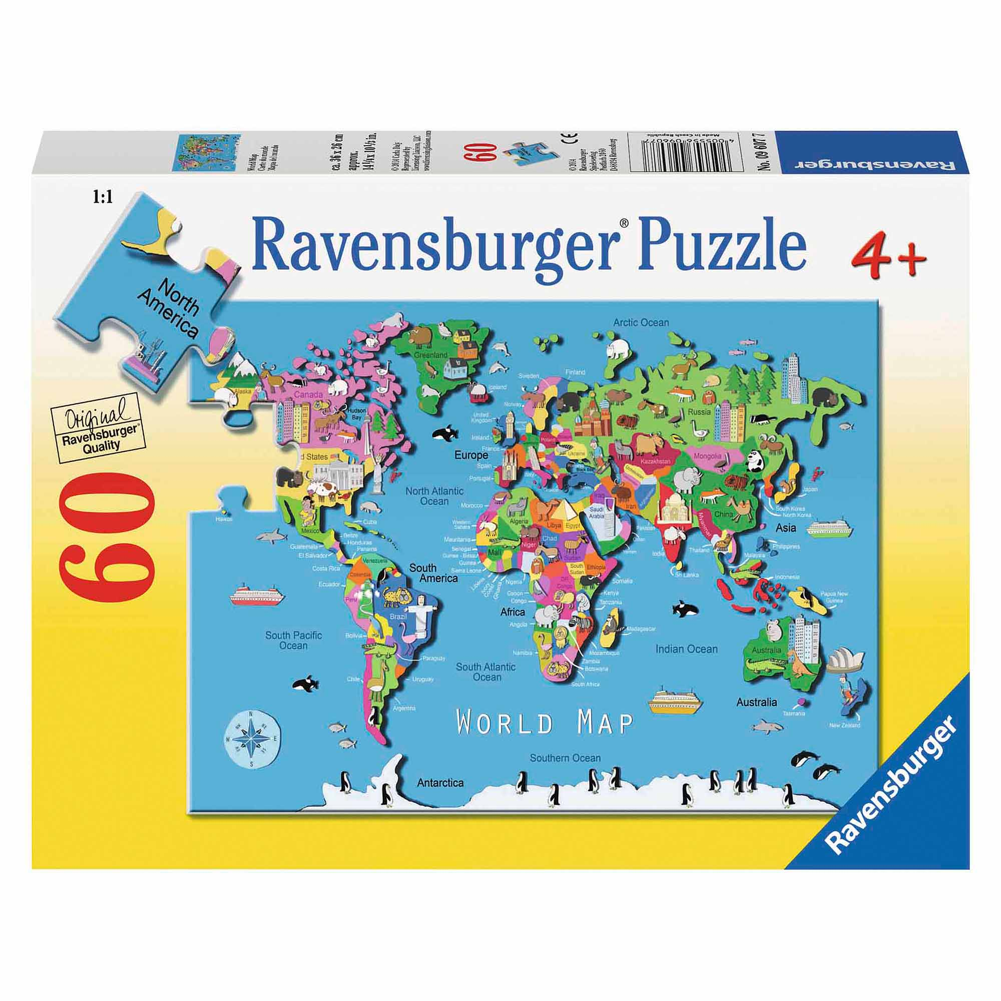 World Map Puzzle, 60 Pieces