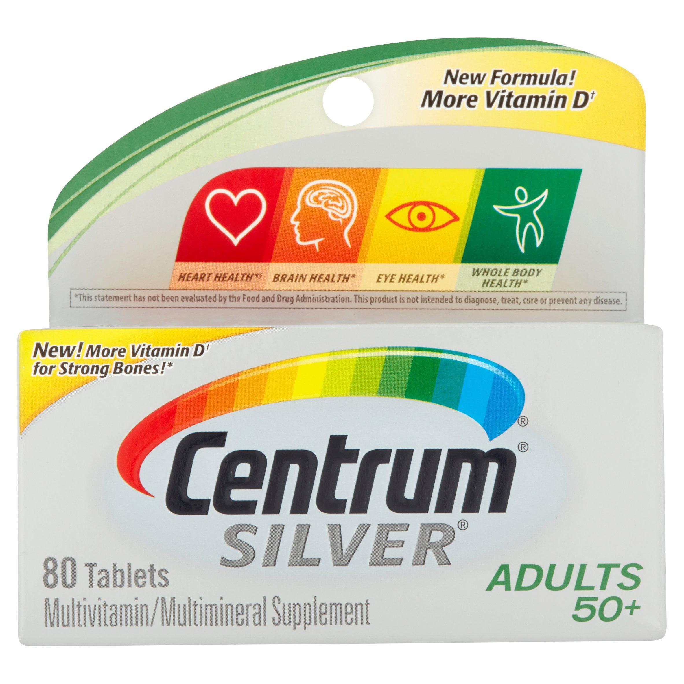 Centrum Silver Adult 50+ Multivitamin Tablets, 80 ct