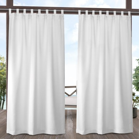 """Set of 2 96""""x54"""" Indoor/Outdoor Solid Cabana Tab Top Window Curtain Panel White - Exclusive Home"""