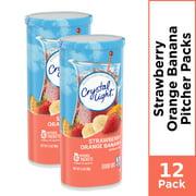 (12 Pitcher Packs) Crystal Light Strawberry Orange Banana Sugar Free, Caffeine Free Powdered Drink Mix