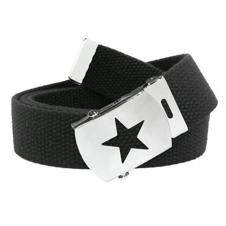 Women's Silver Star Slider Military Belt Buckle with Canvas Web Belt Small