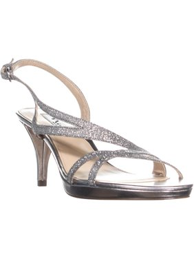 Womens Nina Nura Kitten Heel Slingback Sandals, Stone Vinyl
