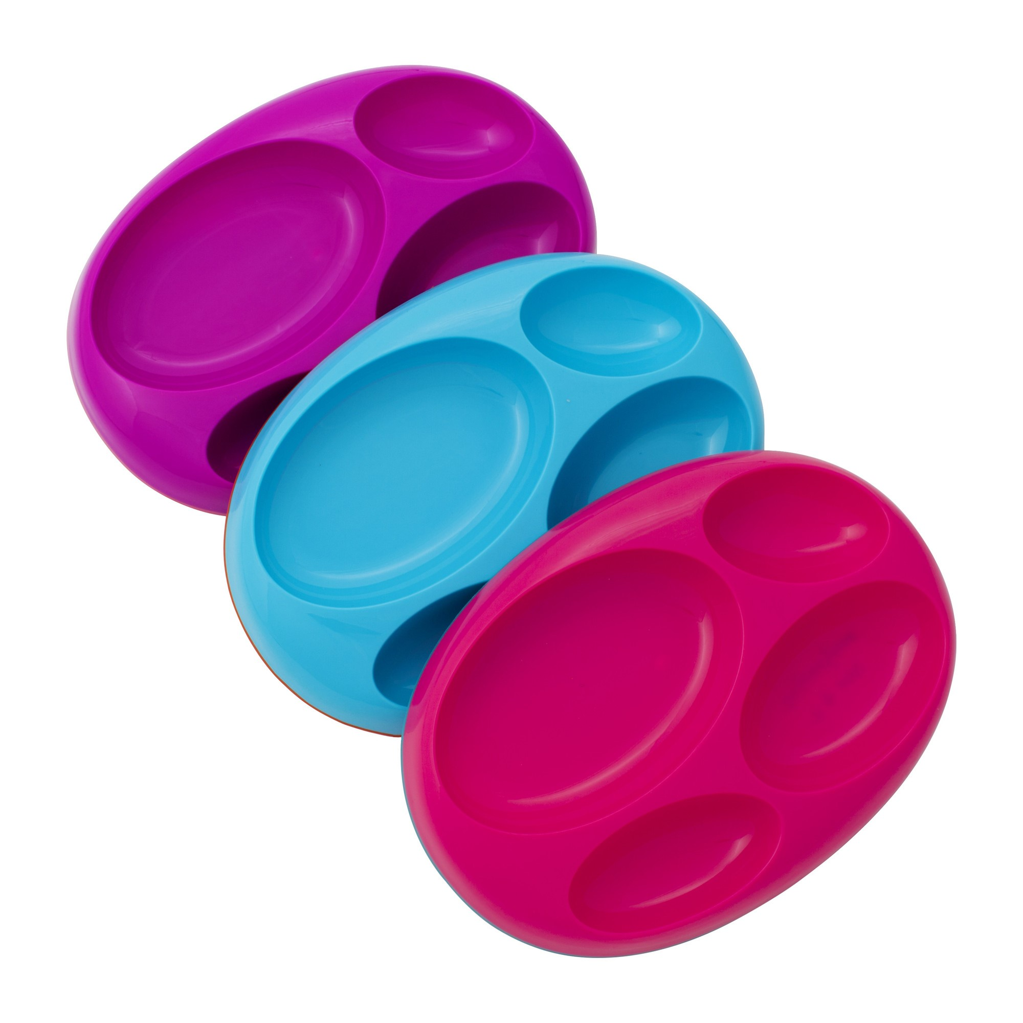 BOON Edgeless divided Platter - Purple/Blue/Pink.- Girl - 3pk