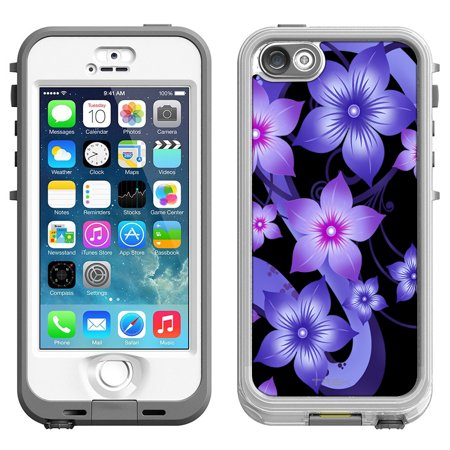 (SKIN DECAL FOR LifeProof Nuud Apple iPhone SE Case - Purple Dahlia Flowers on Black DECAL, NOT A CASE)