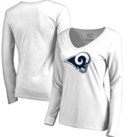 Los Angeles Rams NFL Pro Line by Fanatics Branded Women's Primary Logo V-Neck Long-Sleeve T-Shirt - White