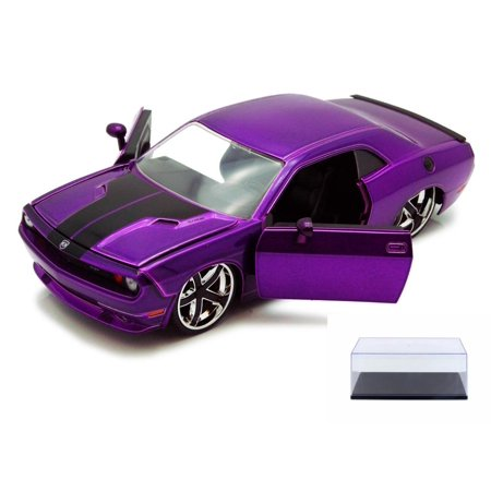 Diecast Car & Display Case Package - Dodge Challenger, Purple - Jada Toys Bigtime Muscle 92034 - 1/24 scale Diecast Model Toy Car w/Display Case