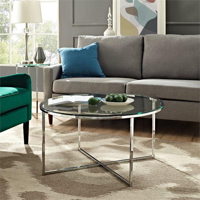 Walker Edison 36 Coffee Table with X-Base - Glass and Chrome
