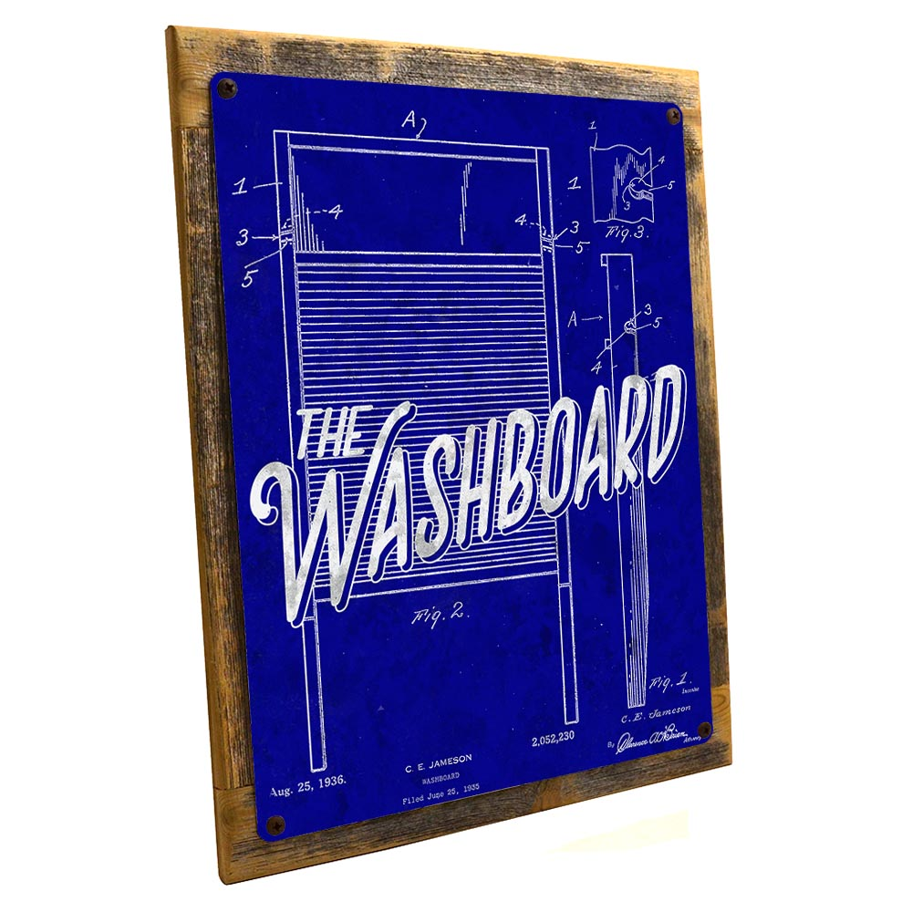 Framed Blueprint Washboard Patent Illustration 9 X12 Metal Sign Wall Decor For Bath Or Laundry Hand Crafted From Reclaimed Materials Walmart Com Walmart Com