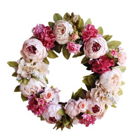 15.7in Peony Flower Wreath Handmade Pink Floral Wreath Artificial Spring Garland Wreath for Front Door Wall Wedding Party Home Decor Spring Door Wreaths