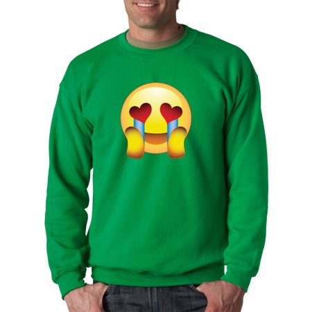 Trendy USA 342 - Crewneck Emoji Face Heart Eyes Crying With Joy In Love Sweatshirt XL Kelly Green