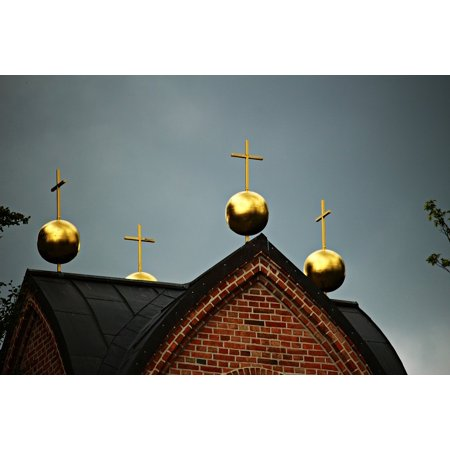 Canvas Print Gold Cross Bell Tower Ball Tower Roof Roof Stretched Canvas 32 x 24