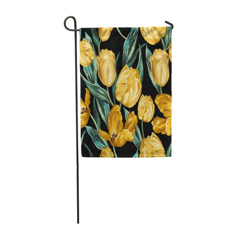 KDAGR Green Pattern of Yellow Tulips on Flower Blossom Gold Vintage Garden Flag Decorative Flag House Banner 12x18 inch Yellow Gold Tulip