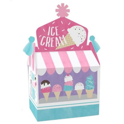 Scoop Up The Fun - Ice Cream - Treat Box Party Favors - Sprinkles Party Goodie Gable Boxes - Set of 12 Favor Gable Boxes