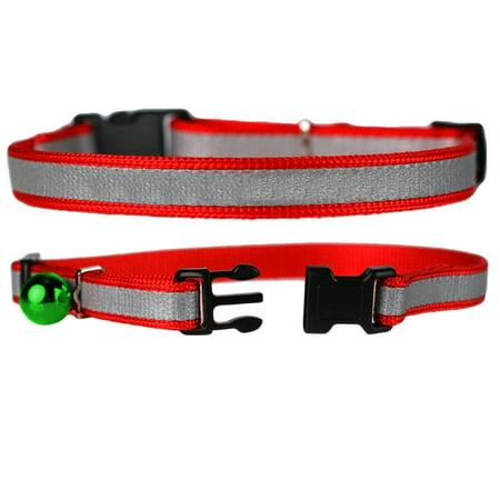 Adjustable Reflective Nylon Cat Collar with Bell, 3 Count (Nylon Reflective Adjustable Collar)