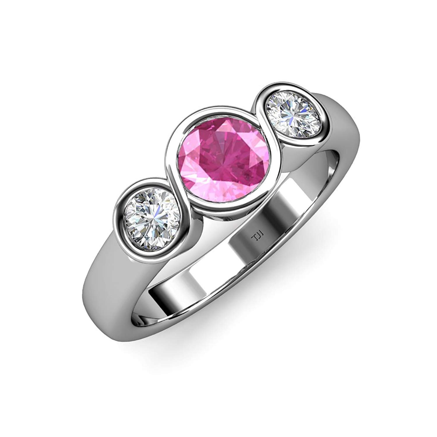 Pink Sapphire and Diamond (SI2, G) Infinity Three Stone Ring 1.85 ct tw in 14K White Gold.size 6.5 by TriJewels