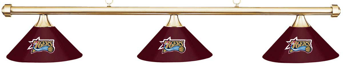 NBA Philadelphia Sixers Burgundy Shade & Brass Bar Billiard Pool Table Light by Imperial International