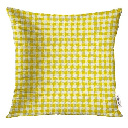 Plaid Breakfast Pillow (CMFUN Orange Breakfast Checkered Pattern Coarse Vintage Yellow Plaid Abstract Geometric for Picnic Check Pillow Case 16x16 Inches Pillowcase )