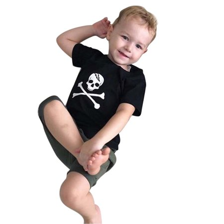 Infants Baby Boys Girl Skull Print Tops Halloween Costume Outfits - Nueva Orleans Halloween