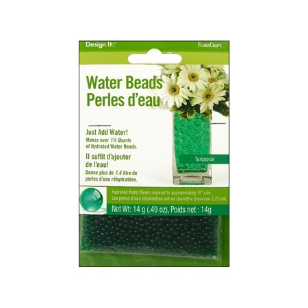 FloraCraft Turquoise Water Beads, 0.49 Oz. - Blue Santa Beads