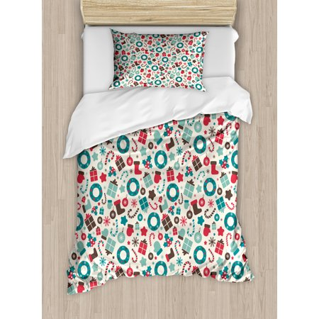 Christmas Twin - Christmas Twin Size Duvet Cover Set, Retro Style Traditional New Year Party Symbols Holly Wreath Socks, Decorative 2 Piece Bedding Set with 1 Pillow Sham, Teal Dark Coral Dark Brown, by Ambesonne