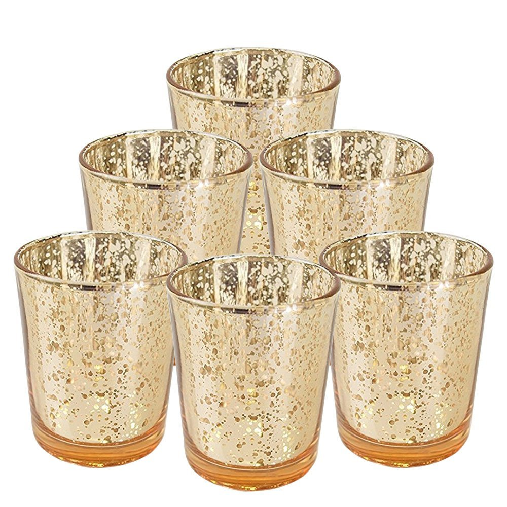 """Just Artifacts Mercury Glass Votive Candle Holder 2.75""""H (6pcs, Speckled Gold) -Mercury Glass Votive Tealight Candle Holders for Weddings, Parties and Home Decor"""