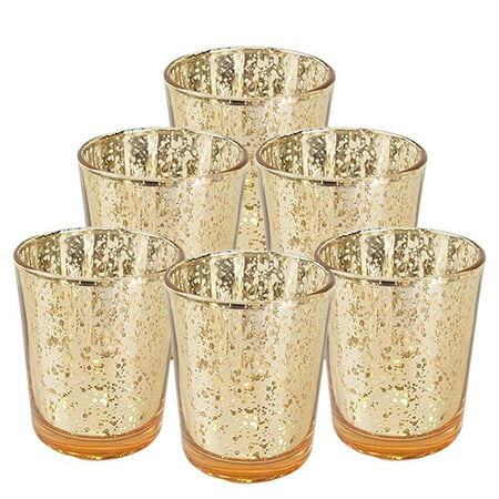 "Just Artifacts Mercury Glass Votive Candle Holder 2.75""H (6pcs, Speckled Gold) -Mercury Glass Votive Tealight Candle Holders for Weddings, Parties and Home Decor"