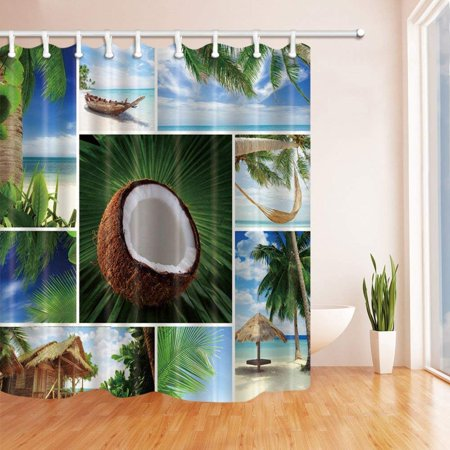 BSDHOME Tropical Beach Coconut Trees Polyester Fabric Bathroom Shower Curtain 66x72 inches - image 1 de 1