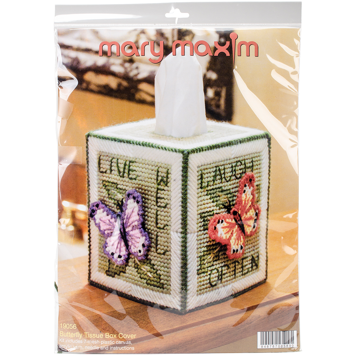 "Butterfly Tissue Box Plastic Canvas Kit - 5"" 7 Count"