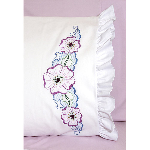 "Fairway Needlecraft Large Flower Stamped Lace Edge Pillowcase Pair, 30"" x 20"""