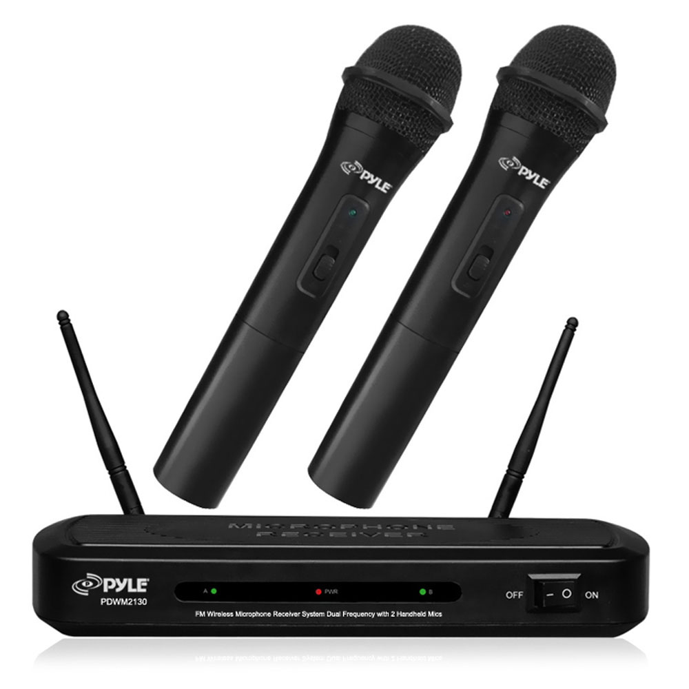 Pyle PDWM2130 - FM Wireless Microphone Receiver System, Dual Frequency with (2) Handheld Mics