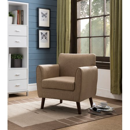Emersyn Brown Upholstered Fabric Oversized Accent Living Room Arm Chair  With Solid Wood Legs - Walmart.com