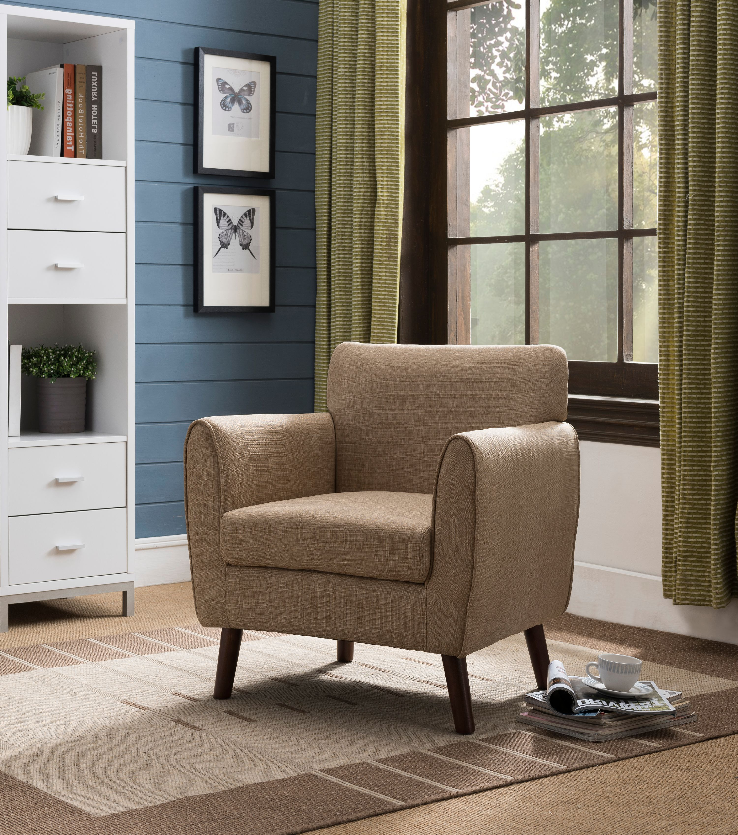 Superbe Emersyn Brown Upholstered Fabric Oversized Accent Living Room Arm Chair  With Solid Wood Legs