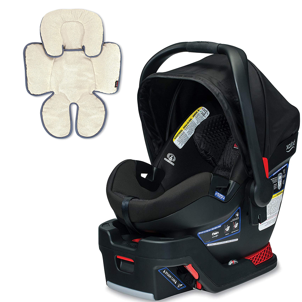 Britax B-Safe Ultra Infant Car Seat, Midnight with Support Pillow Bundle