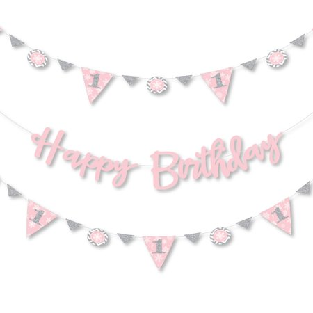 Pink ONEderland - Holiday Snowflake Winter Wonderland Birthday Party Letter Banner Decoration - 36 Banner Cutouts](Winter Wonderland Decorations)
